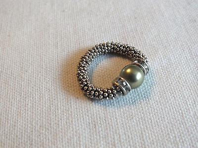 "Beautiful Cocktail Ring Silver Tone Stretch Rhinestones Green Bead 1/4"" Wid NICE"
