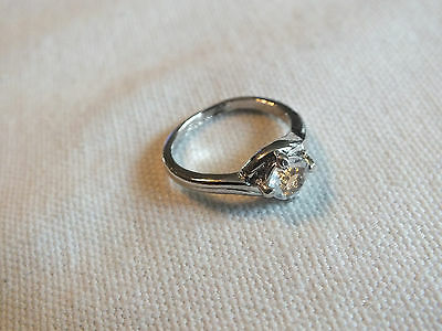 "Stunning Cocktail Ring Silver Tone Clear Solitare Rhinestone Size 5 1/4 x 1/4"" W"