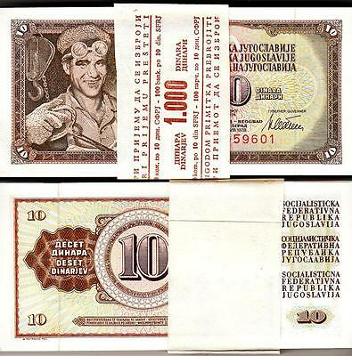 Yugoslavia 10 Dinar 1978 Bundle Unc Consecutive Pack Of 100 Pcs P.87A