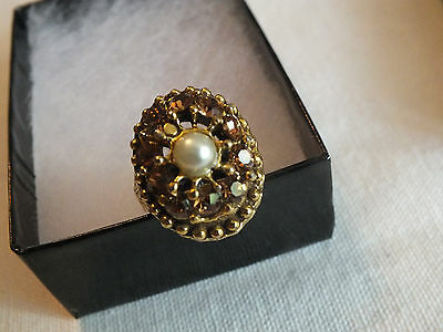Stunning Gold Tone Ring Amber Rhinestones Faux Pearl Embossed Band Adjustable