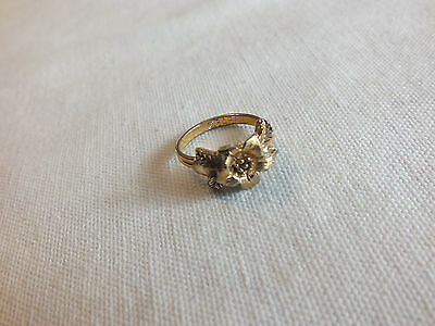 Stunning Gold Tone Cocktail Ring Set Size 6 Adjustable Signed SARAH CuTe