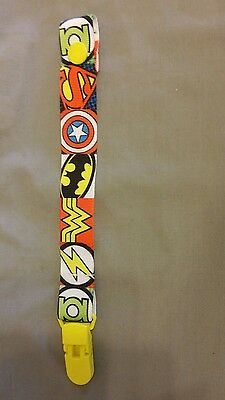 Handmade Dummy Pacifier Saver Clip Marvel Superheroes Baby Boys