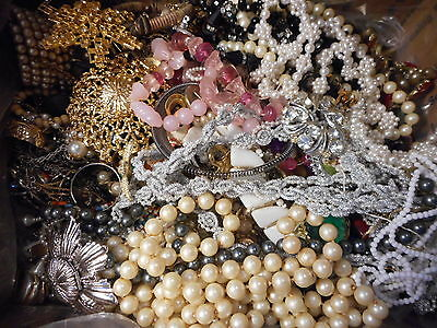 Junk Jewelry Lot Broken Parts Pieces Crafts Repair Over 12 Pounds #717