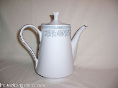 Tea Coffee Pot Fairfield Versailles fine china pitcher with lid blue pink white
