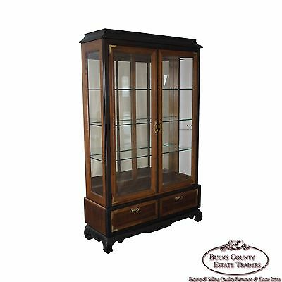 Asian Style Pagoda Top Lighted Curio Display Cabinet by Broyhill Premier