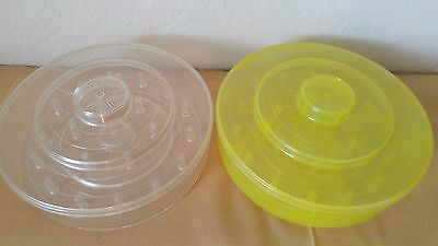 """2 Vintage Tidy Boxes ROUND SEWING 21 THREAD SPOOL Storage Box 6½""""D Yellow Clear"""
