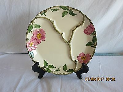 Vintage Franciscan Desert Rose  ROUND 10+-Inch DIVIDED PLATE crudités vegetables