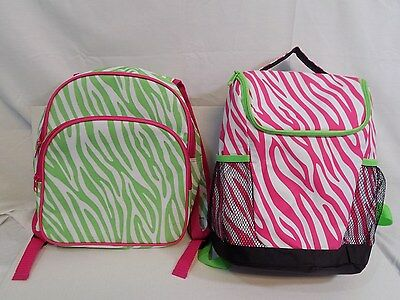 Toddler Backpack Green & Pink Zebra Print Lot of 2 Small Insulated & Canvas Cute
