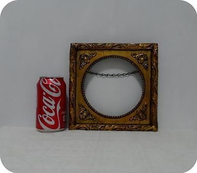 """VTG SHABBY AND CHIC GOLD GILT WOOD & GESSO OVAL WALL PICTURE FRAME 8""""T x 8""""L"""