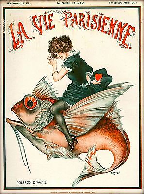 1921 La Vie Parisienne Girl Fish French France Travel Advertisement Poster Print