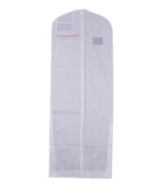 White Bridal Wedding Dress Breathable Nonwovens Garment Bag Dustproof Zip Covers