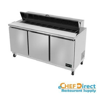 "Asber APTS-72-18 72"" Three Door 18 Pan Sandwich / Salad Prep Table"