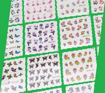50 to 5  Random Sheets Nail Art Transfer Stickers DIY 3D Design Manicure UK sell
