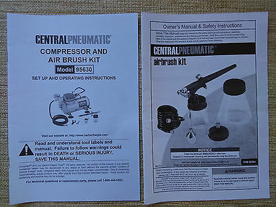 Manual Setup and Operating Instructions for Air Brush Kit Central Pneumatic