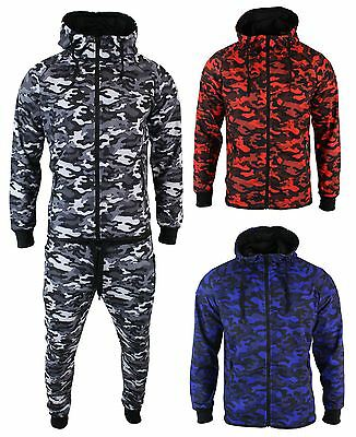 Mens Camo Camouflage Full Tracksuit Bottoms Top Zip Hooded Cotton Red Blue Grey