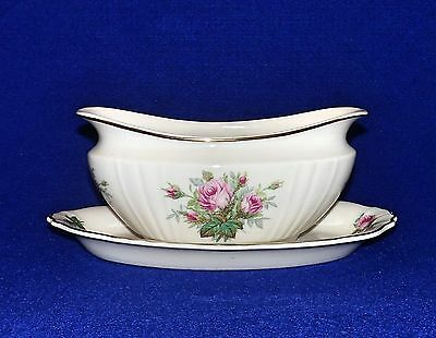 June Rose Gravy Boat with Attached Underplate - by Syracuse China - 1960's