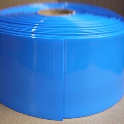 Blue Φ105mm Battery Sleeve Wrap PVC Heat Shrink Tube Thick Flat Width 165mm x 1M