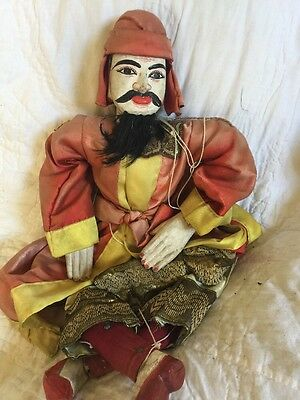 👀 Wow! 19th Century Hand Carved Burmese Antique Marionette Puppet! Rare Find!