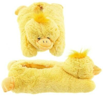 Wishpets Adult or Children Size Yellow Duck Animal Soft Plush Fuzzy Slippers