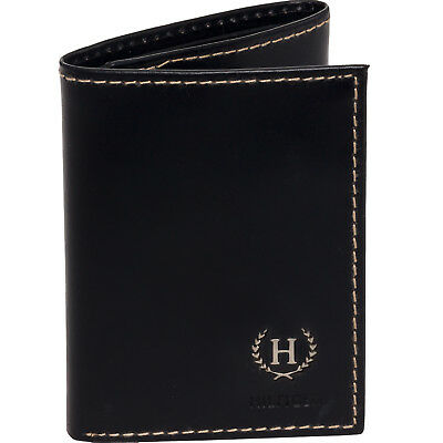Tommy Hilfiger NEW Men's Black Leather Hove Trifold Designer Credit Card Wallet