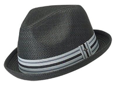 Peter Grimm Men's Paper Depp Classic Fedora Hat w/ Striped Brim