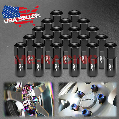 Black 20 PCS M12X1.25 Lug Nuts Extended Tuner Aluminum Wheels Rims Cap WN02