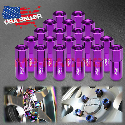 Purple 20 PCS M12X1.25 Lug Nuts Extended Tuner Aluminum Wheels Rims Cap WN02