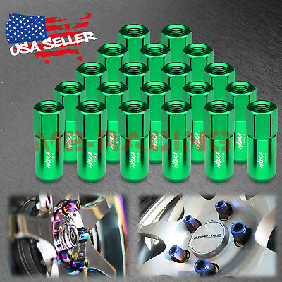 Green 20 PCS M12X1.25 Lug Nuts Extended Tuner Aluminum Wheels Rims Cap WN02