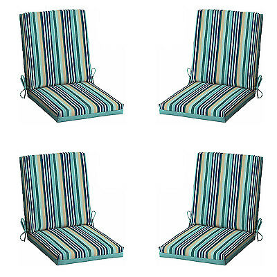 Patio Cushion Set Garden Outdoor Dining Chair Furniture Turquoise Stripe 4 Pack
