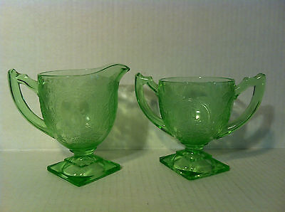 ANTIQUE GREEN DEPRESSION GLASS SUGAR BOWL CREAM CREAMER Horseshoe FOOTED Indiana