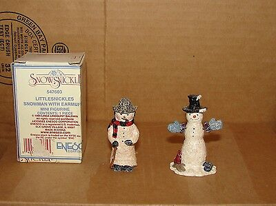 Lot of 2 used Enesco Snowsnickle Littlesnickles Mini Snowman Figurines