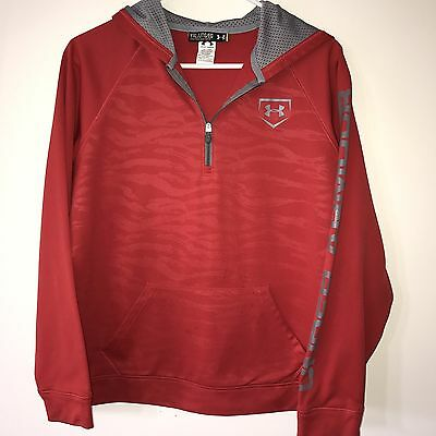 Preowned Youth Boys Under Armour 1/4 Zip Red Loose Hooded Jacket, XL - READ