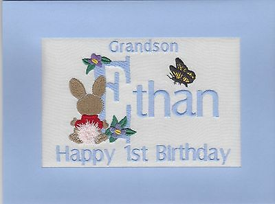 Handmade Personalised Embroidered Grandson 1st Birthday Cards Any Name Age