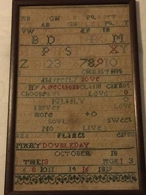 1766 Antique Sampler ~~ Mary Doubleday ~~ Age 13