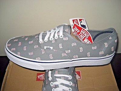cdce6605f5 VANS AUTHENTIC MENS MLB Boston Red Sox Grey Canvas Shoes VN0A2Z5IKU1 ...