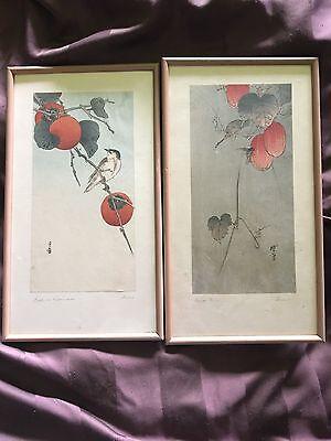 classic watercolor painting set.  Birds and fruit, japanese style .