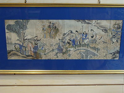 Antique 1700's Chinese Scroll Painting Scholars Bridge Immortals Framed