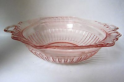 """MAYFAIR/OPEN ROSE by Anchor Hocking Pink Depression Handled 10"""" Vegetable Bowl"""