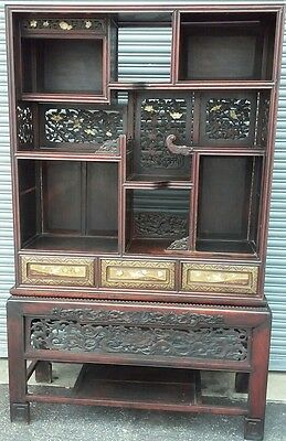 Antique Japanese Period Rosewood Carved Cabinet Chest Meiji Furniture