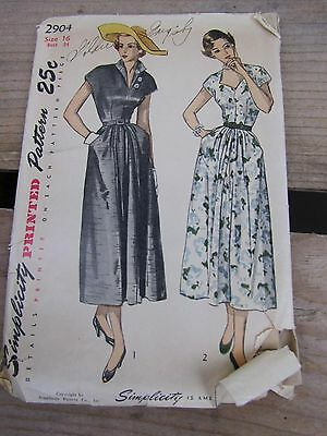 Vintage Simplicity Sewing Pattern 2904 - One Pc. Dress Long Skirt - Size 16