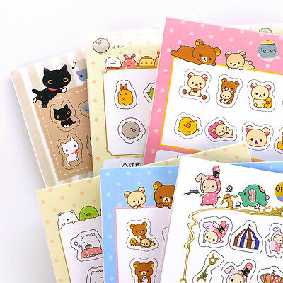 Fashion 80Pcs DIY Cute Kawaii Transparent PVC Stickers Lovely Rilakkuma Sticker