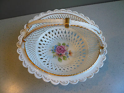 MOGA Reticulated Romanian Porcelain Basket Gilt Hand Painted Roses Signed