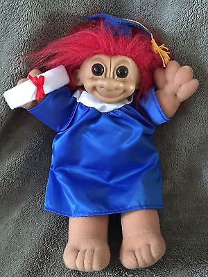 "Russ Troll Graduation Plush Doll Red Hair Blue Gown Cap 11"" Graduate Diploma"