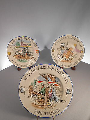 Olde English Customs Plates, (3) - Stocks, Tournament, Roysterers, Burgess Leigh