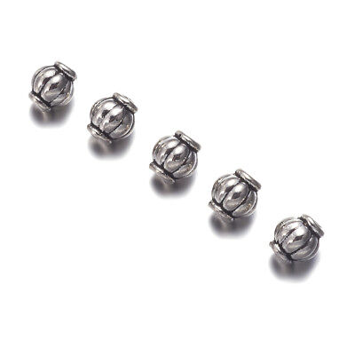 100x Tibetan Alloy Barrel Metal Beads Corrugated Loose Spacer Antique Silver 4mm