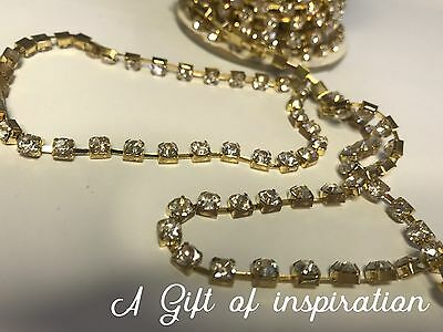 1 Metre Gold Clear Crystal Rhinestone Encased in Gold Metal Chain Trim 4mm