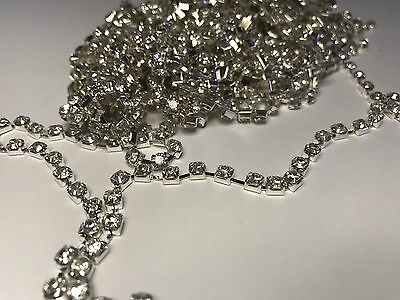 1 Metre Silver Clear Crystal Rhinestone encased in Silver Metal Chain Trim 2.5mm