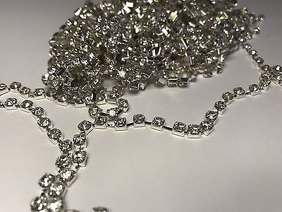 1 Metre Silver Clear Crystal Rhinestone encased in Silver Metal Chain Trim 2mm