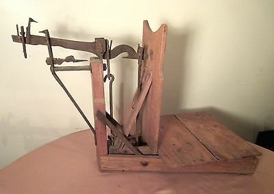 rare large antique 1700's handmade wrought iron wood balance weight scale