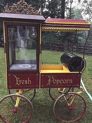 Rolling Popcorn Machine Manufactured By The Antique Popcorn Wagon Co. Chicago, I